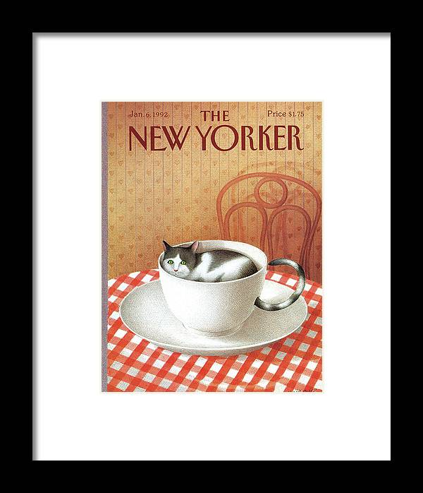 Cat Framed Print featuring the painting Cat Sits Inside A Coffee Cup by Gurbuz Dogan Eksioglu