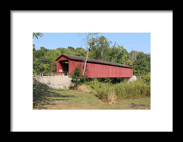 Cararact Falls Framed Print featuring the photograph Cataract Falls Covered Bridge by Clayton Kelley
