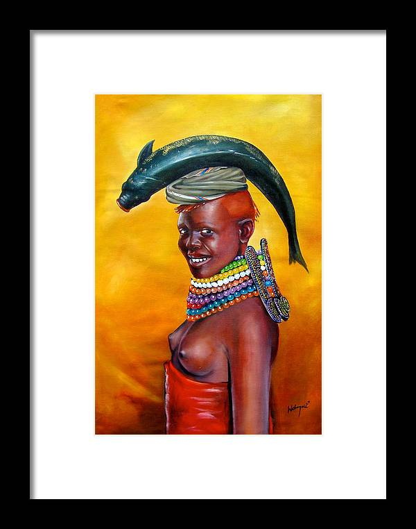 African Paintings Framed Print featuring the painting Catch Of The Day by Chagwi