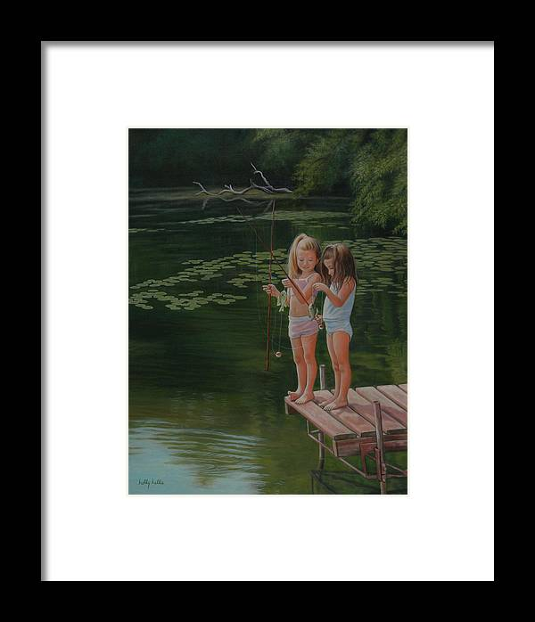Realistic Framed Print featuring the painting Catch Of The Day by Holly Kallie