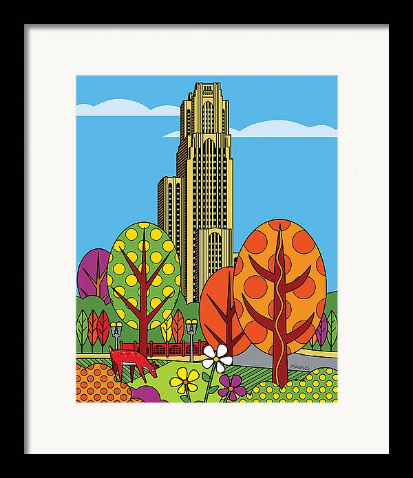 Pittsburgh Framed Print featuring the digital art Cathedral Of Learning by Ron Magnes