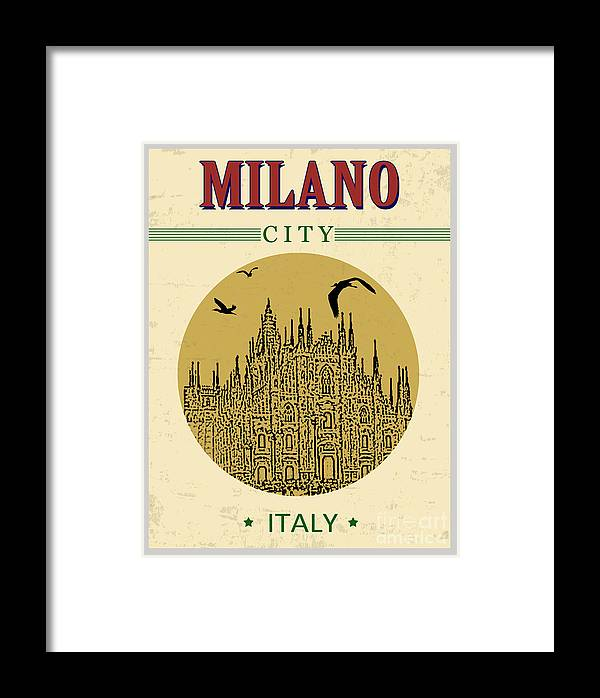 Symbol Framed Print featuring the digital art Cathedral Of Milano, Italy In Vintage by Ducu59us