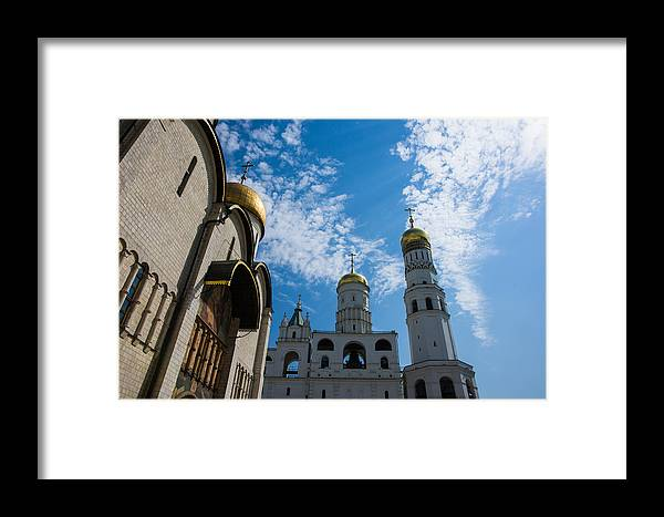 Architecture Framed Print featuring the photograph Cathedral Of The Dormition And Ivan The Great Belfry Of Moscow Kremlin by Alexander Senin
