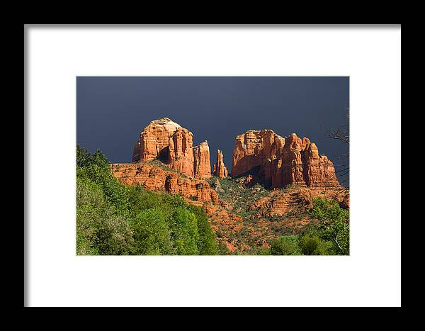 Red Rocks Framed Print featuring the photograph Cathedral Rock Before The Storm by Alexey Stiop