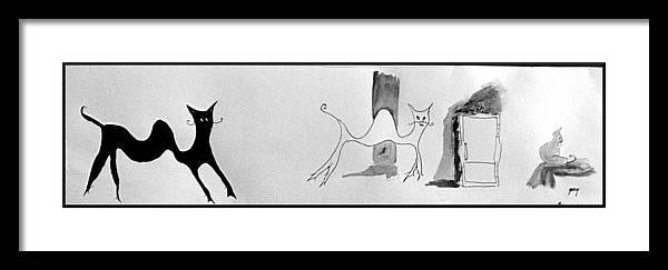 Framed Print featuring the painting Cats 4 by Gary Kirkpatrick