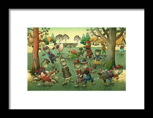 Christmas Greeting Cards Ise Skating Cat Holiday Framed Print featuring the painting Cats on Skates by Kestutis Kasparavicius