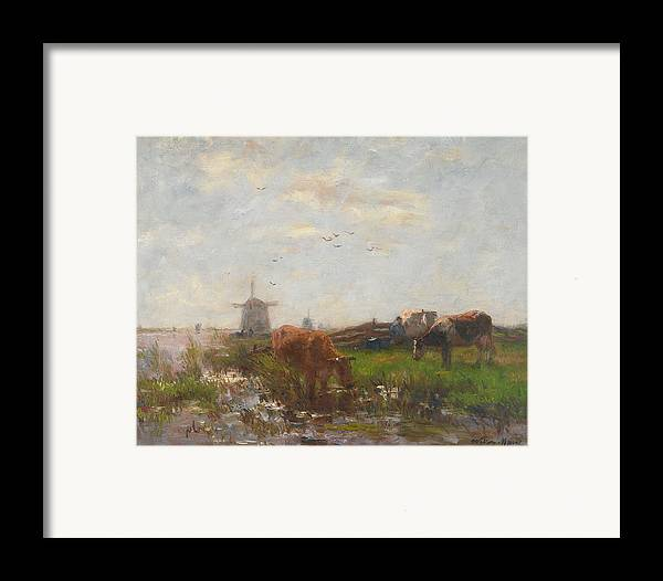 Cows; Cow; Cattle; Meadow; Windmill; Drinking; Netherlands; Holland; Animals; Grazing; Rural Framed Print featuring the painting Cattle Grazing by Willem Maris