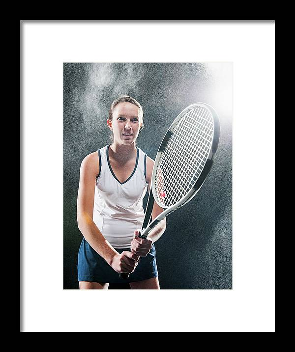 Cool Attitude Framed Print featuring the photograph Caucasian Tennis Player In Rain by Erik Isakson