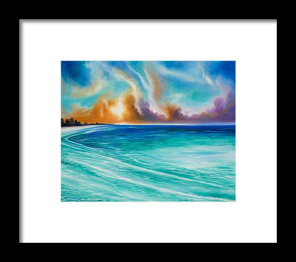 Sunrise Framed Print featuring the painting Cazumel by James Christopher Hill