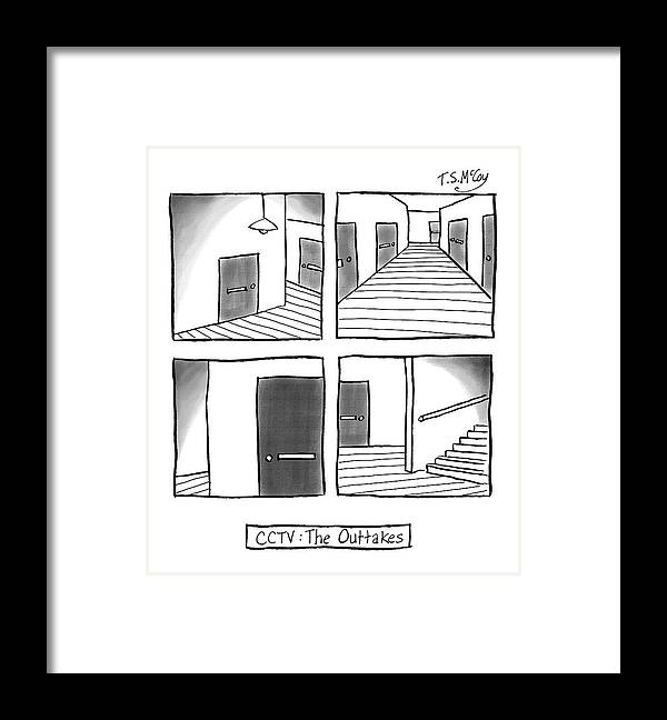 Captionless Security Footage Framed Print featuring the drawing CCTV The Outtakes by The Surreal McCoy