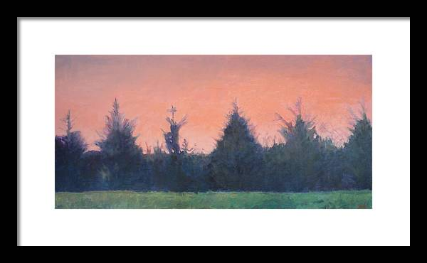 Cedar Trees In Hillsborough Framed Print featuring the painting Cedars Along St. Marys In Hillsborough by Jude Lobe