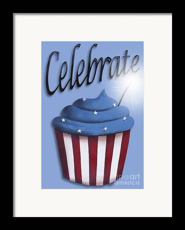 Art Framed Print featuring the painting Celebrate The 4th / Blue by Catherine Holman