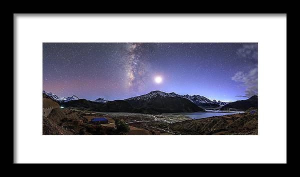 Horizontal Framed Print featuring the photograph Celestial Sky With Milky Way Galaxy by Jeff Dai