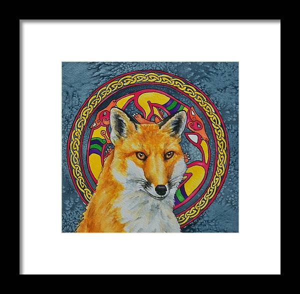 Celtic Framed Print featuring the painting Celtic Fox by Beth Clark-McDonal