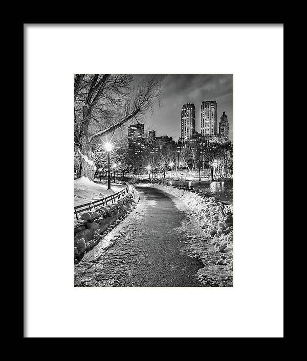 Snow Framed Print featuring the photograph Central Park Path Night Black & White by Michael Lee