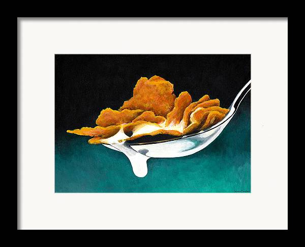 Painting Framed Print featuring the painting Cereal In Spoon With Milk by Janice Dunbar