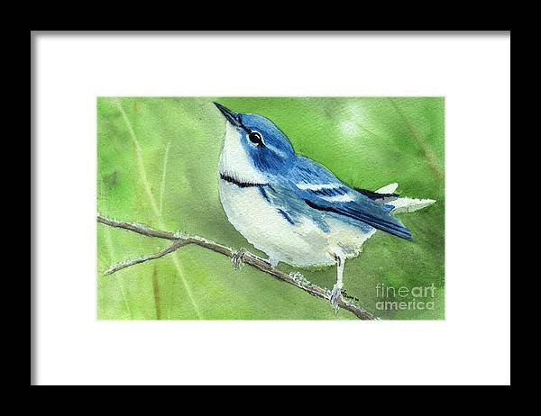 Bird Framed Print featuring the painting Cerulean Warbler by Lynn Quinn