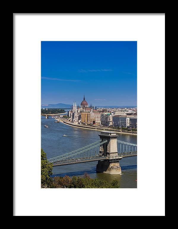 Budapest Framed Print featuring the photograph Chain Bridge Budapest by Gabriel Radulescu