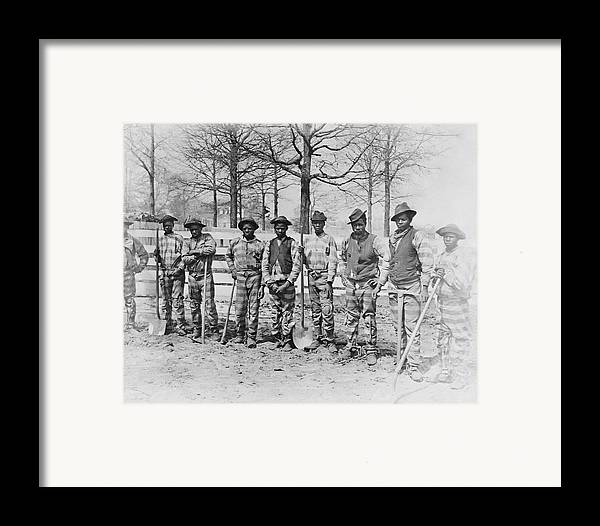 Chain Gang Framed Print featuring the photograph Chain Gang C. 1885 by Daniel Hagerman