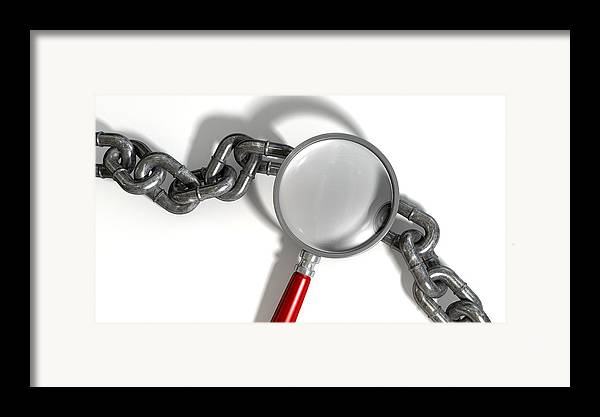 Chain Framed Print featuring the digital art Chain Missing Link Magnifying Glass by Allan Swart