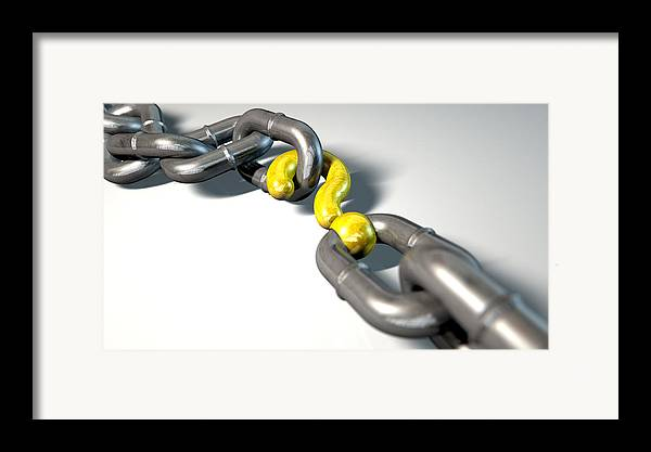 Chain Framed Print featuring the digital art Chain Missing Link Question by Allan Swart
