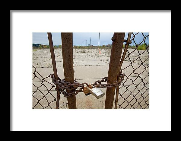 Chain Framed Print featuring the photograph Chained And Padlocked Gate by Jim West