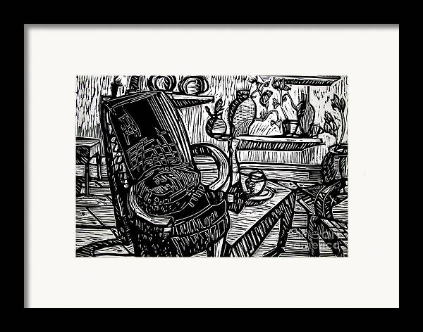 Chair Framed Print featuring the relief Chair Of My Dream Final Stage by Charlie Spear