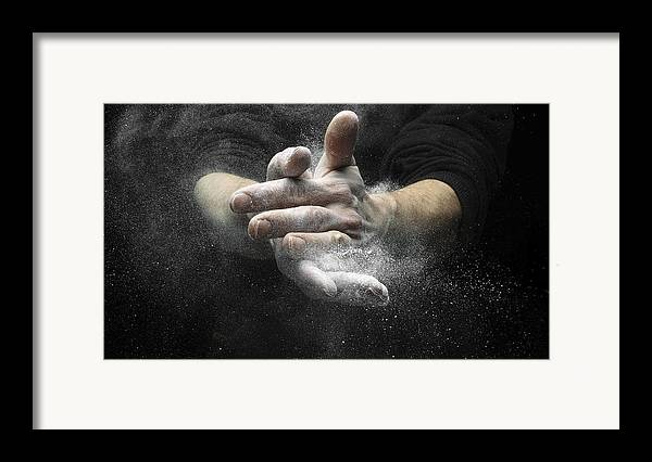 Magnesium Carbonate Framed Print featuring the photograph Chalked Hands, High-speed Photograph by Science Photo Library
