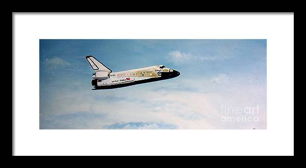 Shuttle Framed Print featuring the painting Challenger by Murphy Elliott