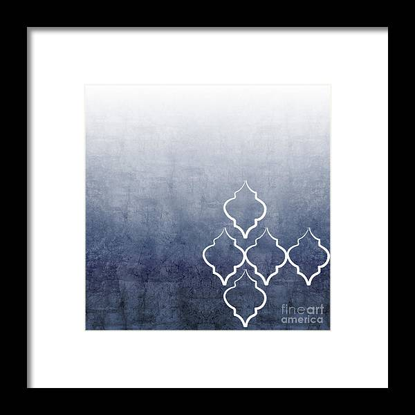 Abstract Framed Print featuring the mixed media Chambray Ombre by Linda Woods