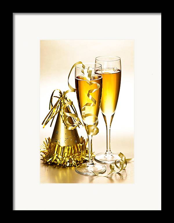 Champagne Framed Print featuring the photograph Champagne And New Years Party Decorations by Elena Elisseeva