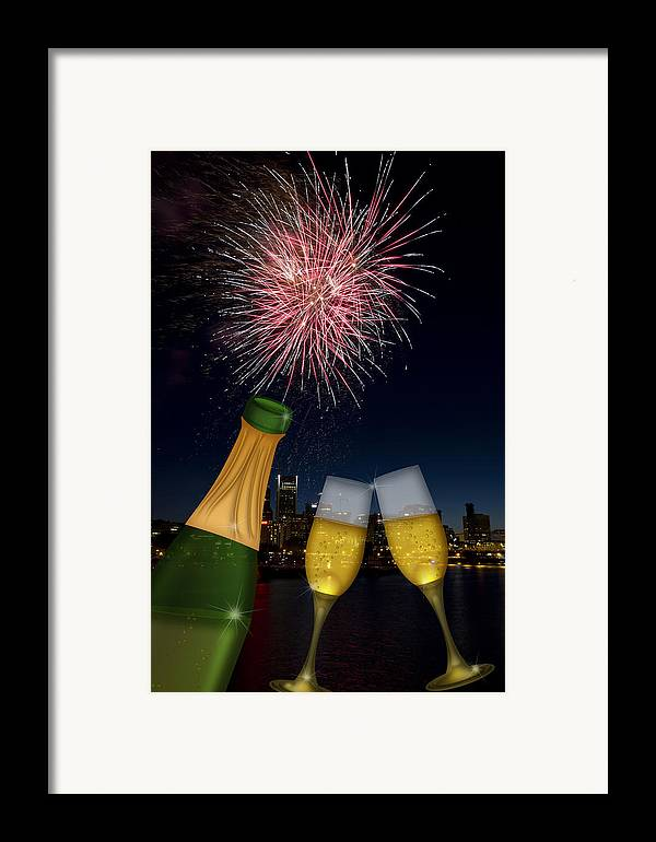 Champagne Framed Print featuring the photograph Champagne Toast With Portland Oregon Skyline by JPLDesigns