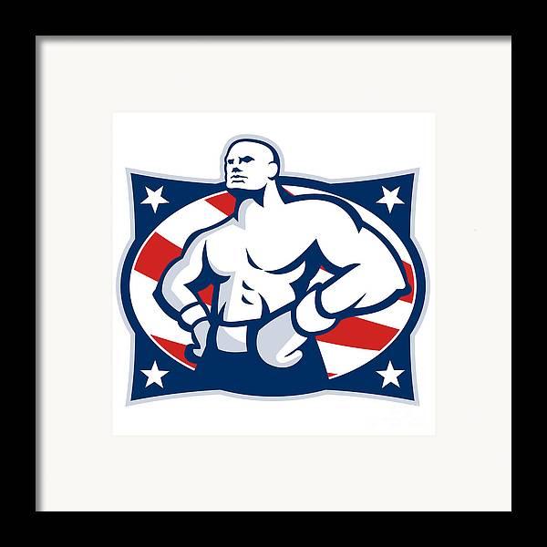 Boxer Framed Print featuring the digital art Champion American Boxer Akimbo Retro by Aloysius Patrimonio