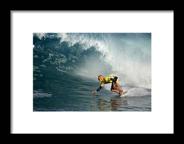 Kelly Slater Framed Print featuring the photograph Champion At Pipeline Masters by Kevin Smith
