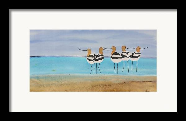 Avocets Framed Print featuring the tapestry - textile Chance Encounter At The Beach by Carolyn Doe
