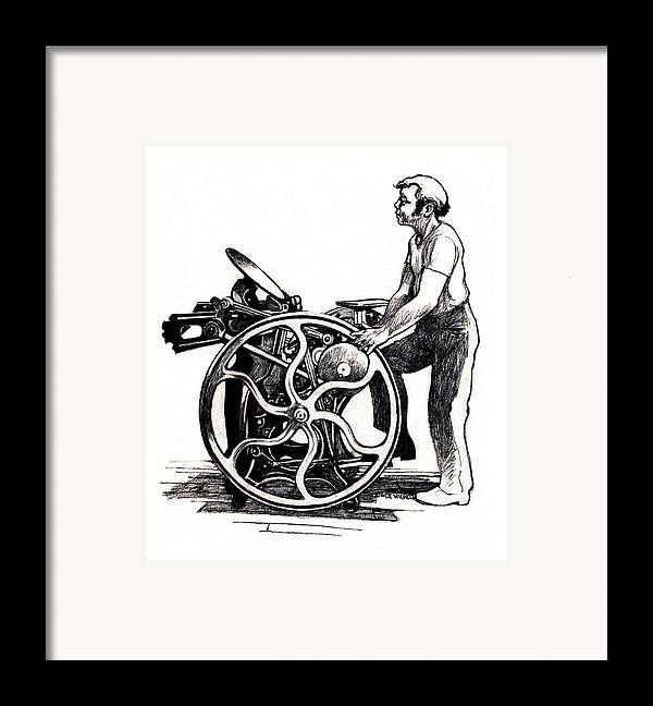 Letterpress Framed Print featuring the drawing Chandler And Price Old Style by Dale Michels