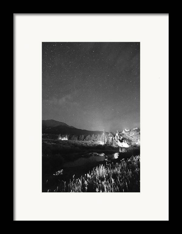 Old Churches Framed Print featuring the photograph Chapel On The Rock Stary Night Portrait Bw by James BO Insogna