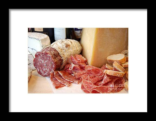 Charcuterie Framed Print featuring the photograph Salami And Cheese by Rosemarie Morelli