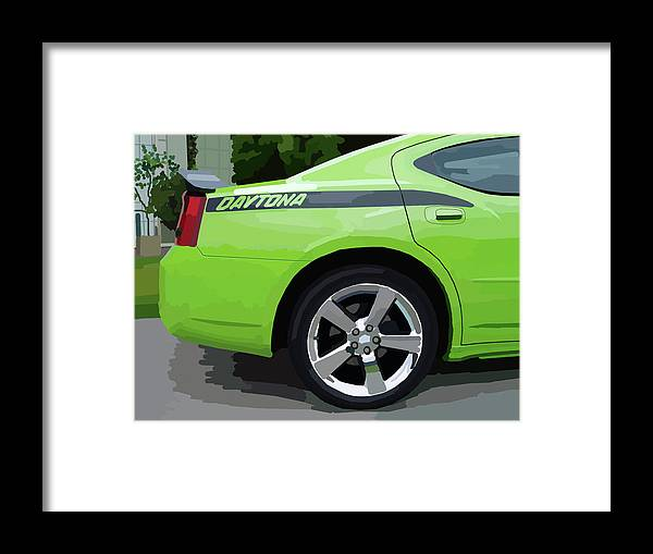 Automobile Framed Print featuring the digital art Charger Daytona by Chris Istenes