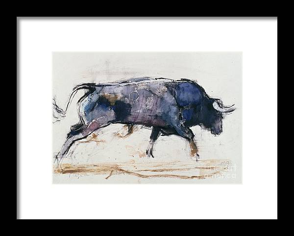 Bull Framed Print featuring the painting Charging Bull by Mark Adlington