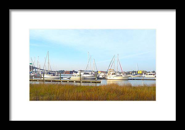 Charleston Harbor Framed Print featuring the photograph Charleston Harbor Boats by M West