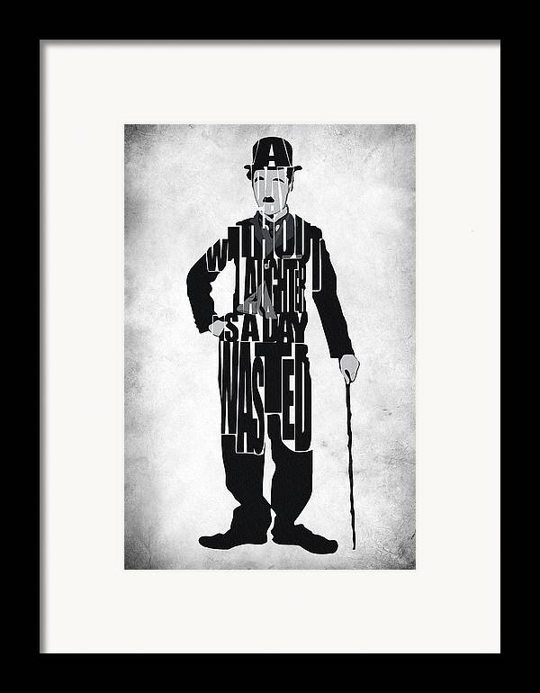 Charlie Chaplin Framed Print featuring the painting Charlie Chaplin Typography Poster by Inspirowl Design