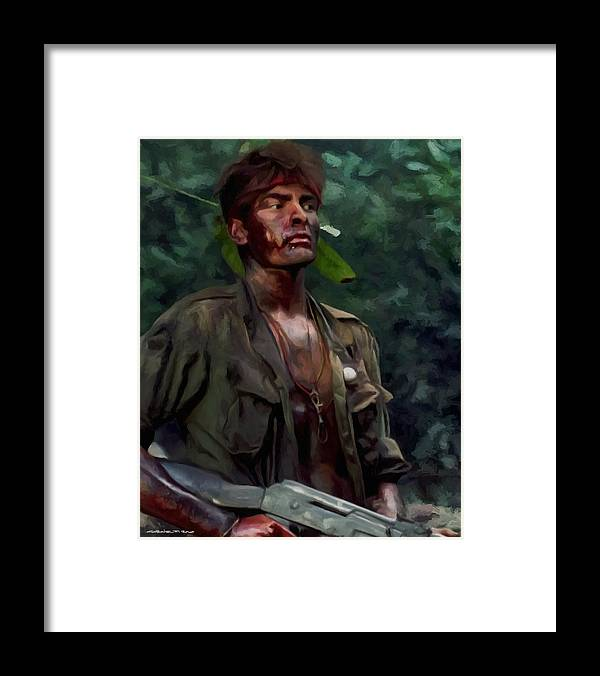 Platoon Framed Print featuring the digital art Charlie Sheen in Platoon by Gabriel T Toro