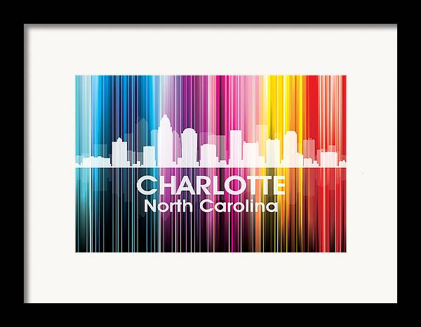 City Silhouette Framed Print featuring the mixed media Charlotte Nc 2 by Angelina Vick