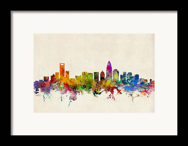 Watercolour Framed Print featuring the digital art Charlotte North Carolina Skyline by Michael Tompsett