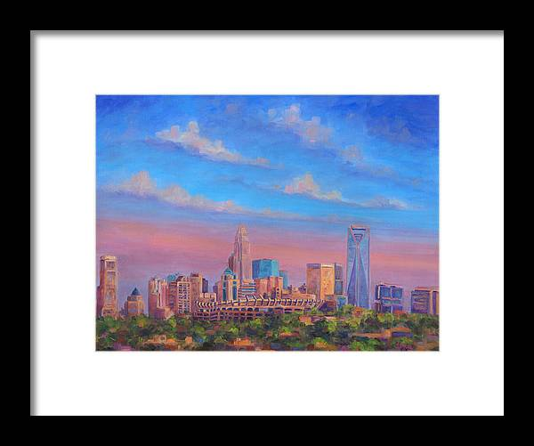 Charlotte Framed Print featuring the painting Charlotte Skies by Jeff Pittman