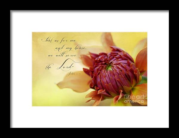 Bloom Framed Print featuring the photograph Charmed With Bible Verse by Beve Brown-Clark Photography