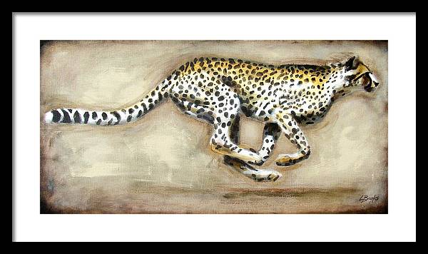 Running Cheetah Framed Print featuring the painting Chase by Leigh Banks