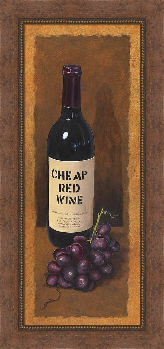 Wine And Grapes Painting Framed Print featuring the painting Cheap Red Wine by Terri Meyer