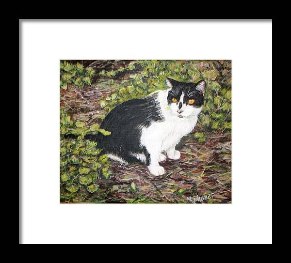 Cat Framed Print featuring the painting Checkers The Cat by Nancy Chenet